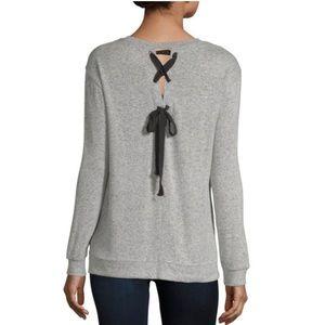 NWT a.n.a. L/S V-Neck Back Lace-Up Knit Blouse